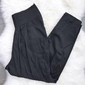 H&M Pants - H&M Black Satin Pleated Tuxedo Waistband Pants
