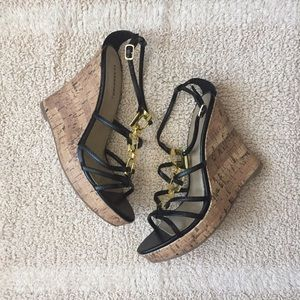 Classified Shoes - Black wedge sandals, size 8