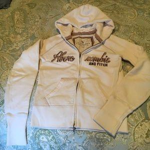 Abercrombie & Fitch womens medium zip hoodie cream