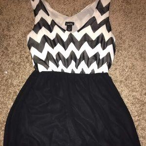 Short black and white chevron vneck high low dress