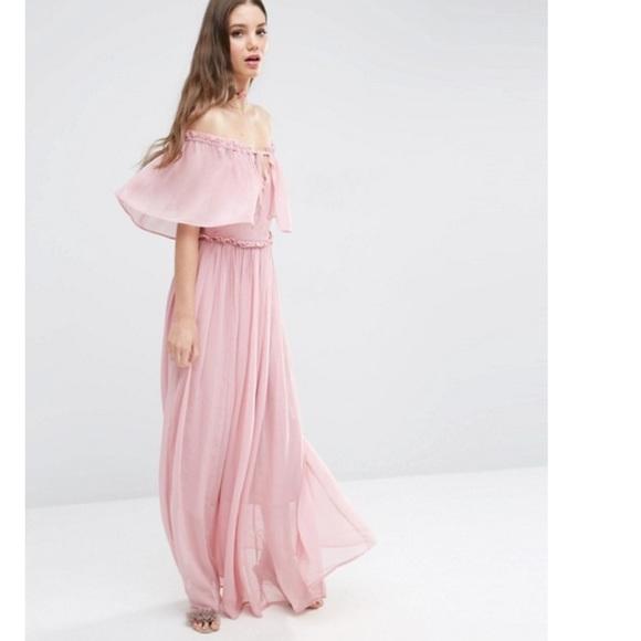 ff2a40601946e ASOS Dresses | Off Shoulder Blush Pink Ruffle Maxi Dress | Poshmark