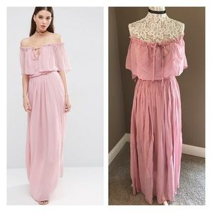 678b9e3a8f1 Off shoulder blush pink ruffle maxi dress NWT