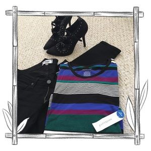 Westbound Cozy Multi Striped Long Sleeve Top