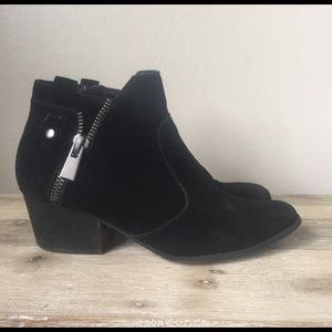 Suede Booties with zipper detail
