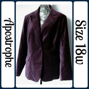 Apostrophe Jackets & Blazers - Sz 18w Apostrophe Unique Deep Purple Velvet Blazer