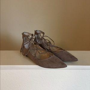 Unisa Shoes - Taupe Unisa Lace Up Flats