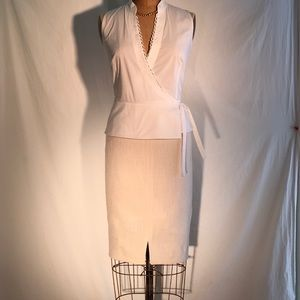 Talbots white glossy tweed slit-front pencil skirt