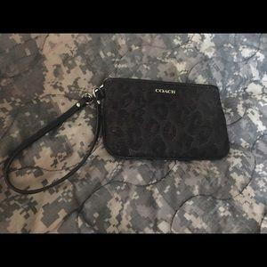 Coach black leopard wristlet