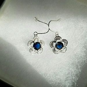 Jewelry - Sapphire and silver costume dress dangle earrings