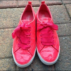 Coach Shoes - Suzzy Neon Pink Coach Patent Leather Sneakers