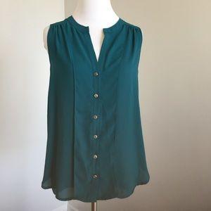 Pleione Tops - Pleione green sleeveless blouse