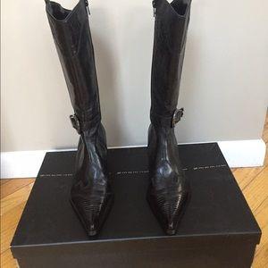 Steve Madden Black Leather Western Boot