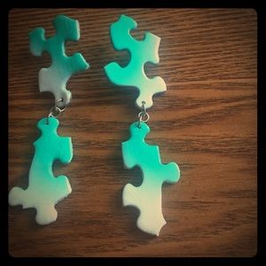 handmade Jewelry - Double dangler polished teal puzzle earrings