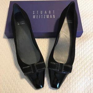 Stuart Weitzman Shoes - NIB Stuart Weitzman suede flats with patent bow.