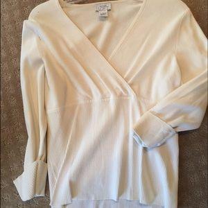 LOFT cream v neck sweater