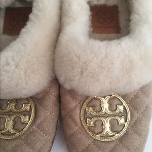 Tory Burch Shoes - Tory Burch Shearling & Flannel Gold Logo Slippers