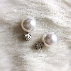 Elegant Double-Sided Crystal Ball Earrings ~ Pearl