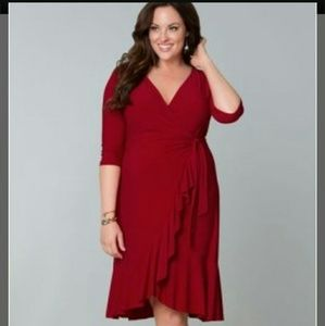 Kiyonna Dresses & Skirts - Kiyonna Red Whimsy Wrap Dress