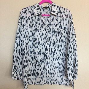 ro & de noir Tops - Cream blouse with black spots.