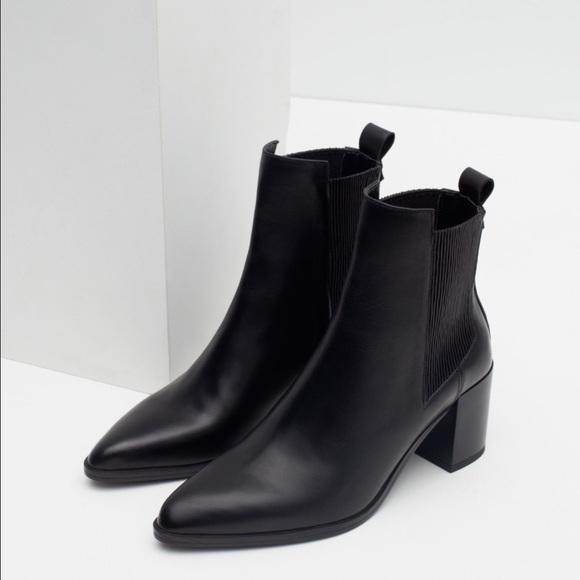 8b2f69b63c72 Zara black leather ankle boots block heel 38 7.5. M 58b35d827f0a053c9501e987