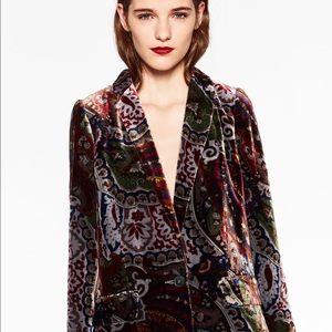 Zara Jackets & Blazers - NEW Zara Woman Printed Velvet Blazer Coat Floral