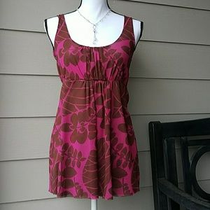 Sweet Pea Tops - Sweet Pea Nylon Floral Pink/Brown Tank SZ Med