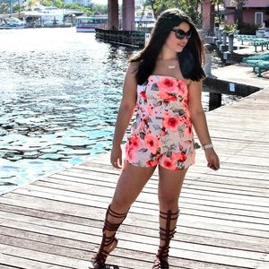 Fashion Nova Pants - SALE !! Orange floral romper