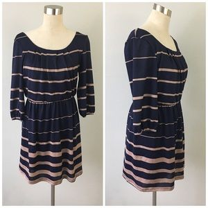 As U Wish Dresses & Skirts - As U Wish Navy Cream Striped Long Sleeve Dress