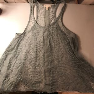 Silence and noise blue/green lace tank top