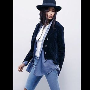 Free People navy blue Velvet Uncut Cord Jacket S