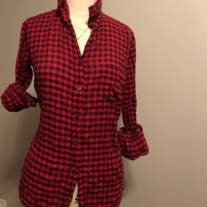 J.Crew Red and Navy Gingham Shirt