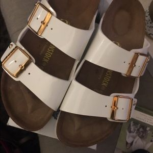 White + Gold Patent Leather Arizona Birkenstock 39