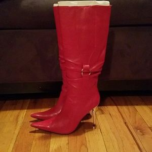 Aldo Shoes - Red pointy knee high stiletto boots
