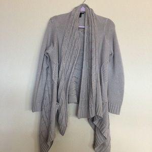 Double Zero Sweaters - Beige chunky knit open front cardigan.