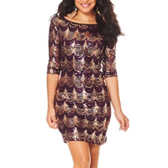 Crystal Doll Dresses   Skirts - Sequin Purple and Gold Dress 5287d4253