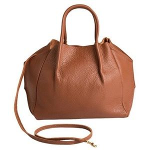 Zoe Tote in cognac pebbled leather.