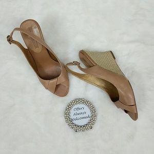 Banana Republic Shoes - Banana Republic Tan Leather Espadrille Wedges
