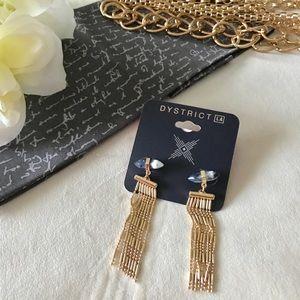•Naturally Fringed in Gold• Tassel Earrings