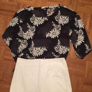 Navy Ann Taylor Loft blouse XL