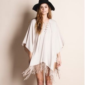 Lace Up Fringed Tunic Top