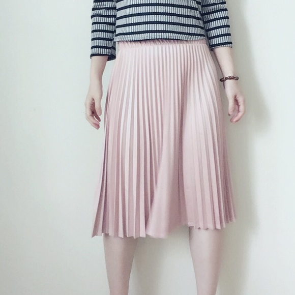 blush faux suede pleated midi skirt from smiling s