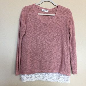 Pink Rose Sweaters - Dusty pink sweater with lace bottom.