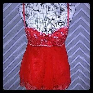 Victoria's Secret Other - VS Sexy Little Things Red Babydoll Floral Sequins