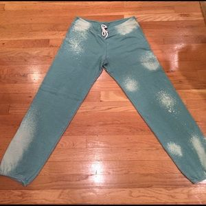 Monrow Pants - Monrow Green Bleach Out Sweatpants