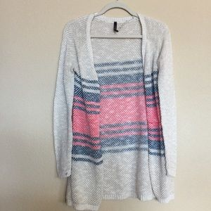 Sweaters - Coral and blue cardigan