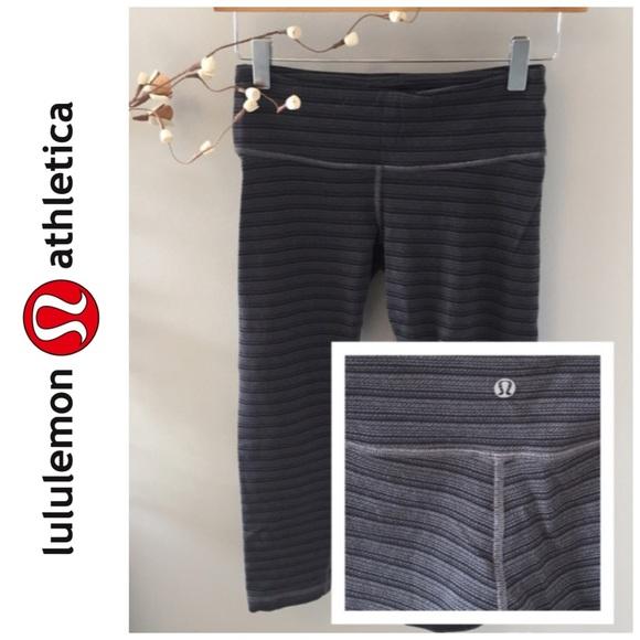 3b4fcff88 lululemon athletica Pants - Wunder Under Crop Texture Stripe Slate Deep Coal