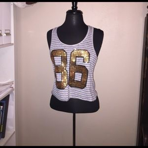 Tops - Gray & White Striped Gold Sequined 86 Tank