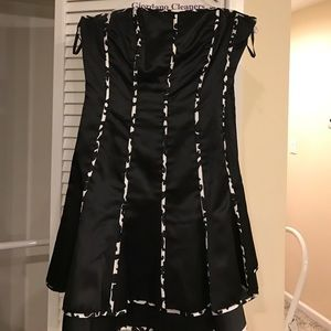Dresses & Skirts - Black and white SILK DRESS with CORSET
