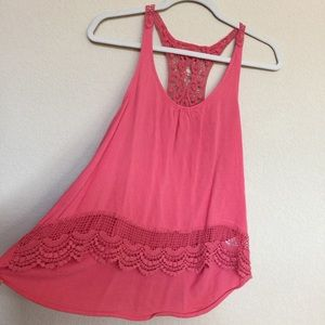 Tops - Coral flowy tank top