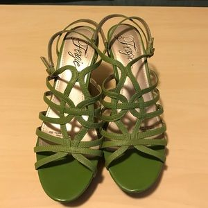 Fergie Shoes - Green Strappy Wedge Sandals